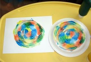 art activity - put blobs of paint on a plate, place face down on paper and twist with your hands