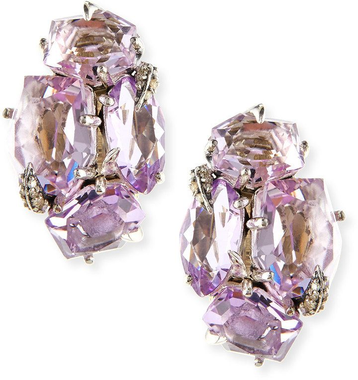 Alexis Bittar Fine Amethyst Cluster Clip Earrings with Diamond Claw