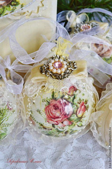 "Купить Новогодний набор ""Шебби Роуз"" - лимонный, новогодний подарок, повогодние шарики, шарики на елку"