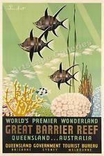 1950-х годов большой барьерный РИФ Queensland Australia винтажный плакат с…
