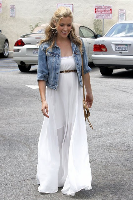 Celebrity Maternity Style. Try the off white maxi dress with belt above belly and cropped jean jacket. Maternity style with regular clothes.
