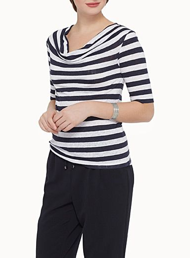 Simons, $45.00 Style: 7023-14743, Exclusively from Contemporaine     A selection of graphic patterns woven in an ultra comfortable and breathable fine natural linen knit   Soft, elegant and feminine cowl neck   Fashionable elbow-length sleeves    The model is wearing size small