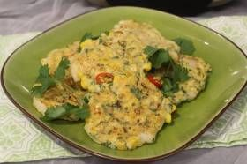 INGREDIENTS+200g+raw+prawn+meat+100g+raw+prawns+20g+shallot,+diced+1+tbsp+gluten+free+plain+flour+2+eggs+–+separated+½+bunch+coriander,+chopped+1+tsp+salt+¼+tsp+ground+white+pepper+1+cob+fresh+corn+kernels++DIRECTIONS+Whisk+the+egg+whites+using+the+stick+mixer.+Place+the+200g+prawn+meat,+leek,+flour,+yolks,+coriander,+salt+and+pepper+into+a+b...