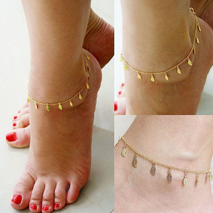 Gold Leaves Pendant Chains Anklets