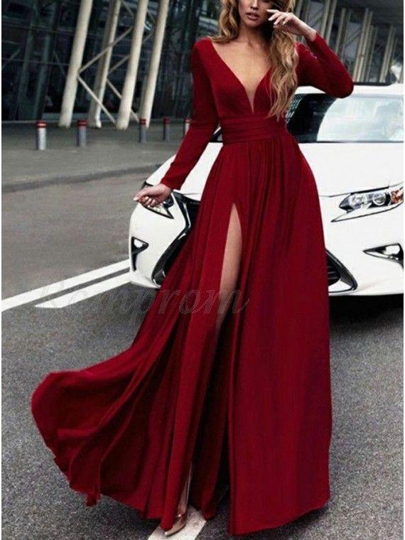 2de68ef9f994 Sparkly V-Neck Slit Leg Burgundy Prom Dress Long Party Dress in 2019 ...