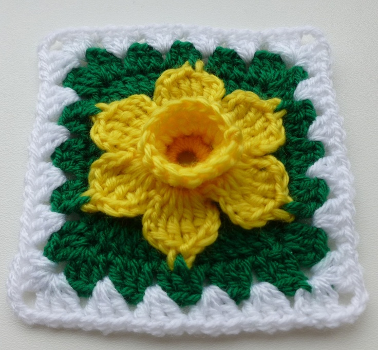 PDF pattern - Daffodil in granny square.