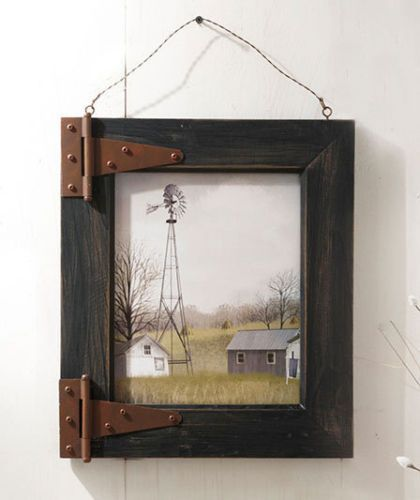 WINDMILL BARN DOOR RUSTIC WOOD PICTURE FRAME SHABBY COUNTRY WALL ART CHIC DECOR