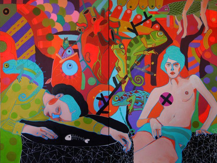 Marcin Painta, One i kameleony, 160x120 (dyptyk), technika mieszana na płótnie, 2014