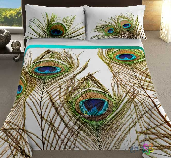 Cubre dual ng pavo real peacock feather bedding pillow cover covers blanket home furniture - Peacock bedspreads ...