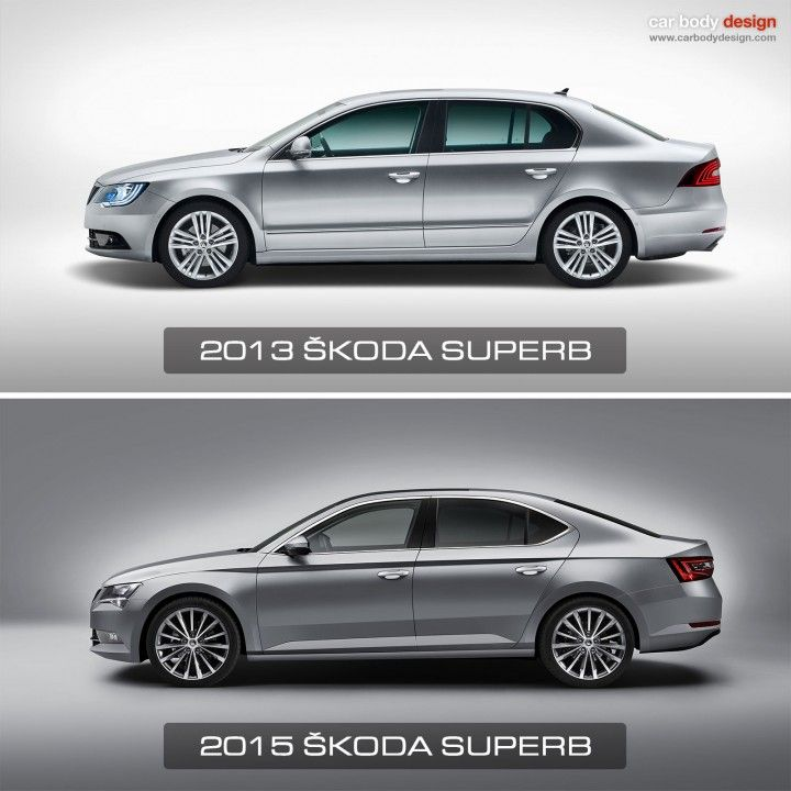 2013 and 2015 Skoda Superb Design Comparison - Side view