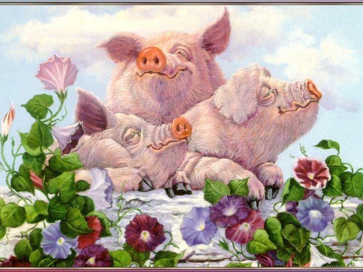 Новогодние картинки свинки для декупажа, старинные