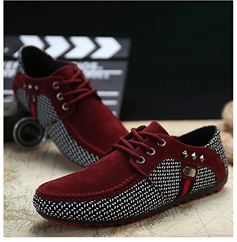 QIDIANTRADE Men's Fashion Casual Boat Gommino Shoes , Lace up Suede Sneaker, Breathable Slip. (11D(M)US, Red)