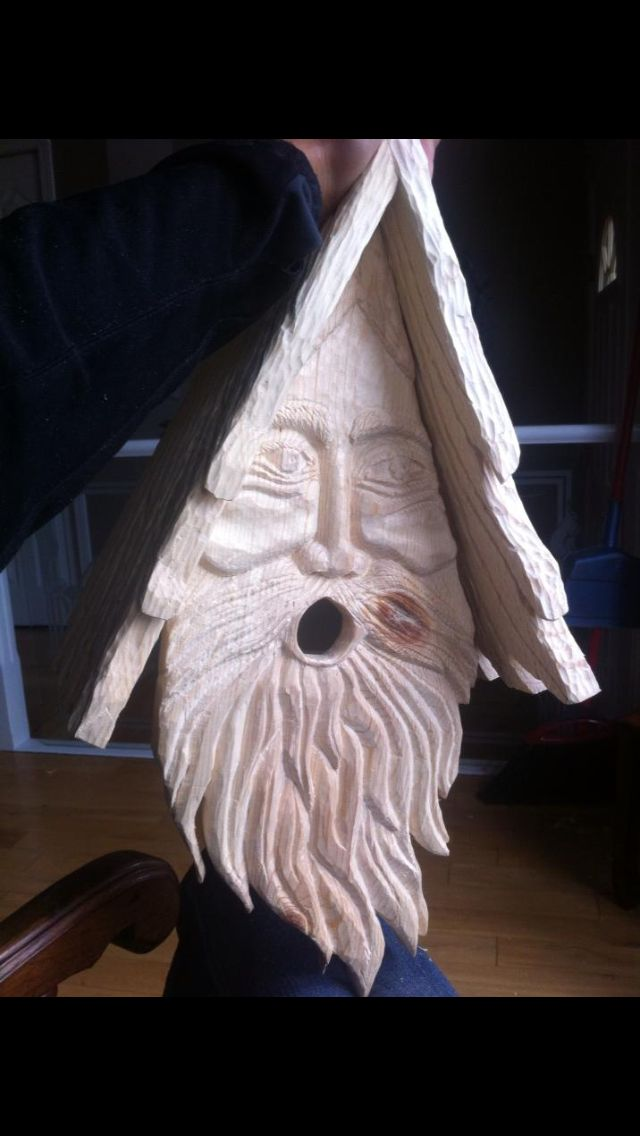 Wood spirit bird house I made for a happy couple.