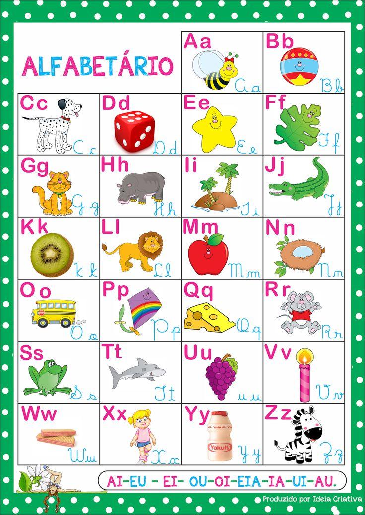 Alfabetário Cartas ilustradas para recorte e palavras em bastão e cursiva