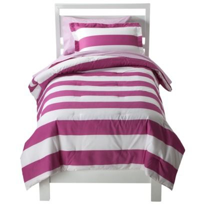 Circo® Rugby Stripe Bed Set - Pink/White