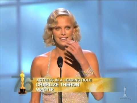 """Charlize Theron winning Best Actress for """"Monster"""". Pinned this for Adrien Brody's presentation."""