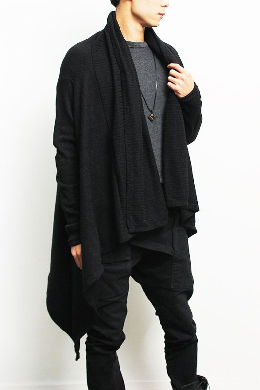 Details about Avant-garde Mens Fashion Draping Shawl Knit Long Cardigan,  GENTLERSHOP - Top 25+ Best Mens Long Cardigan Ideas On Pinterest Mens Cardigan