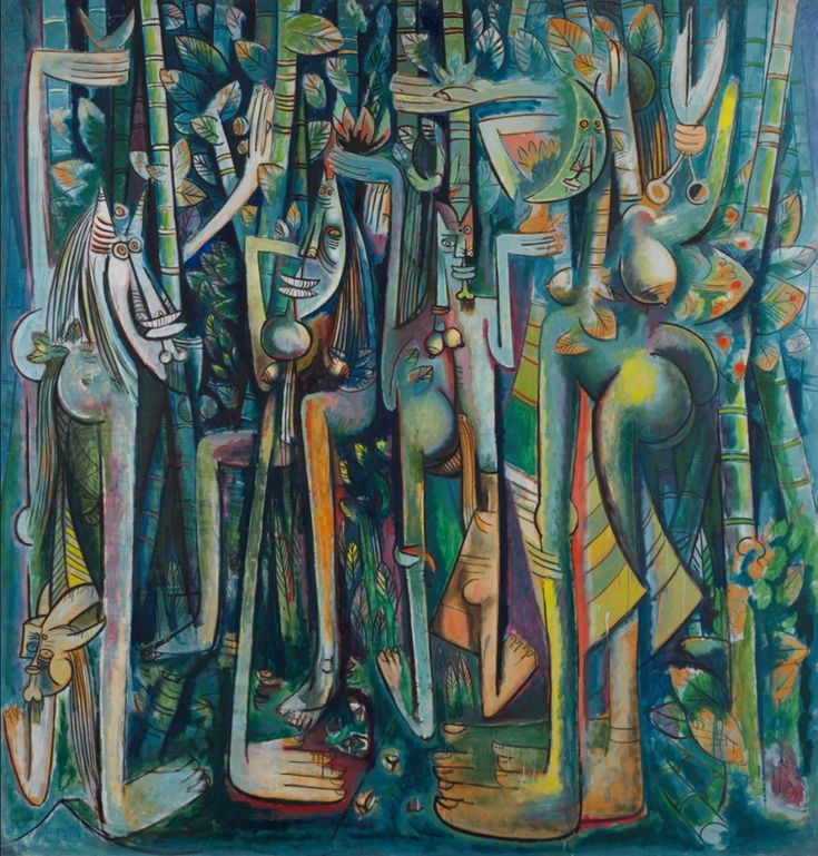 Wifredo Lam: The Jungle Wifredo Lam remains the most renowned painter from Cuba and The Jungle remains his best known work and an important painting in the history of Latin American art and the history twentieth-century modernism more broadly. Pompidou Paris, Cuban Art, Caribbean Art, Expositions, Arte Pop, Museum Of Modern Art, Art Design, American Artists, Art World