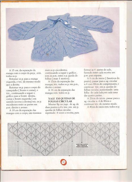 Receita de Tricô: Casaquinho, xale e calça com ponto queda de folhas