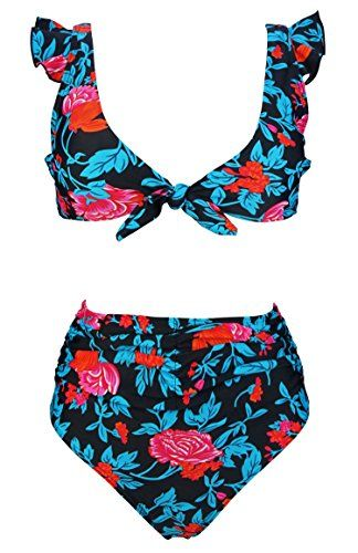8f8ac6afa6cfc New COCOSHIP Women's Retro Floral High Waisted Shirred Bikini Set Tie Front  Closure Top Ruffle Swimsuit(FBA) online. Find the perfect Coastal Blue  Swimsuit ...