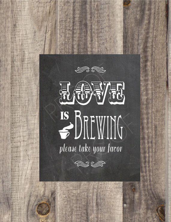 8x10  5x7  4x6 instant download chalkboard love is brewing
