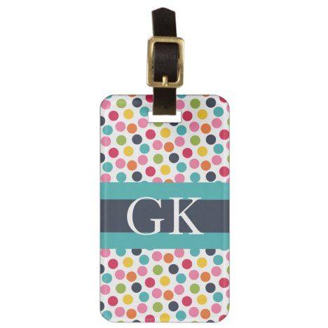 Blue Band Polka Dot Monogram Luggage Tag #polkadot #pattern #accessories