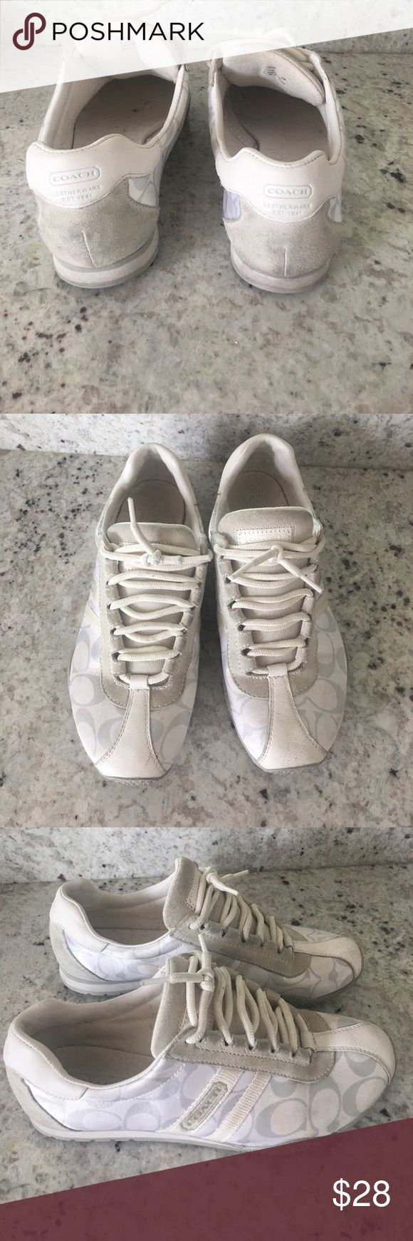 Coach tennis shoes White coach tennis shoes has some scuffs but still in great condition Coach Shoes Sneakers