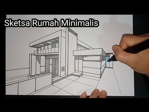 Cara Menggambar Sketsa Rumah Dengan Perspektif 2 Titik Hilang Gambar Teknik Youtube Di 2020 Sketsa Cara Menggambar Gambar
