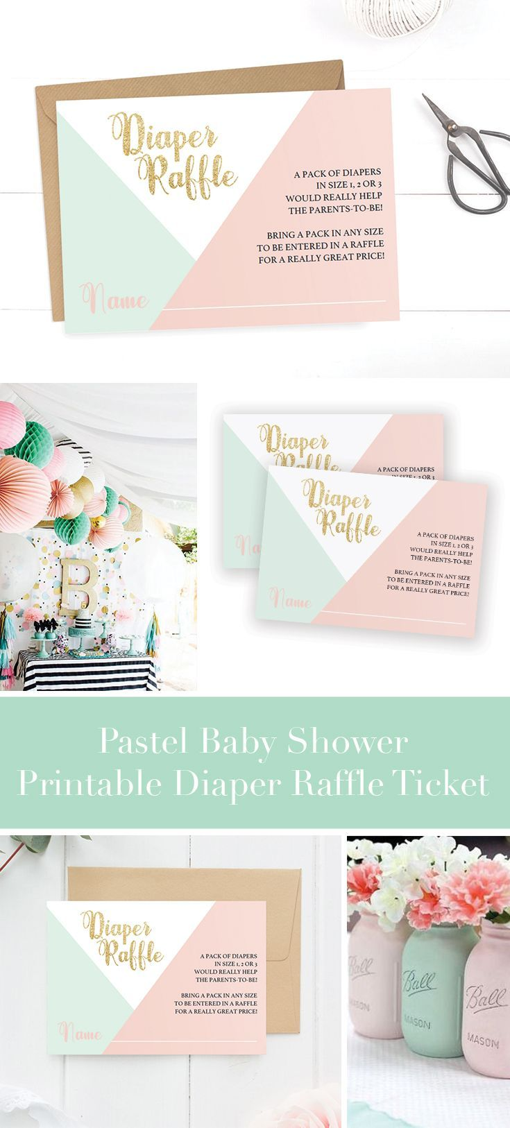 Baby Shower Diaper Raffle Ticket Printable by LittleSizzle. Pastel and Gold themed Baby Shower ideas. The charming poem on these pastel Diaper Raffle tickets lets your guests know they can win a great price by bringing a pack of diapers. Include them in your invitations for any baby shower. You can personalize the tickets with your own words. Simply download, edit and print!