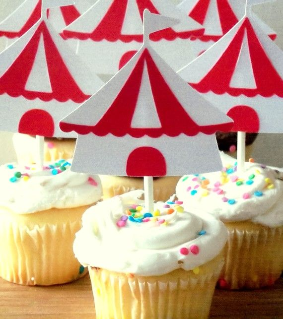 Circus / Carnival Party Cupcake Toppers  red & by ThePaigeSpot, $9.50