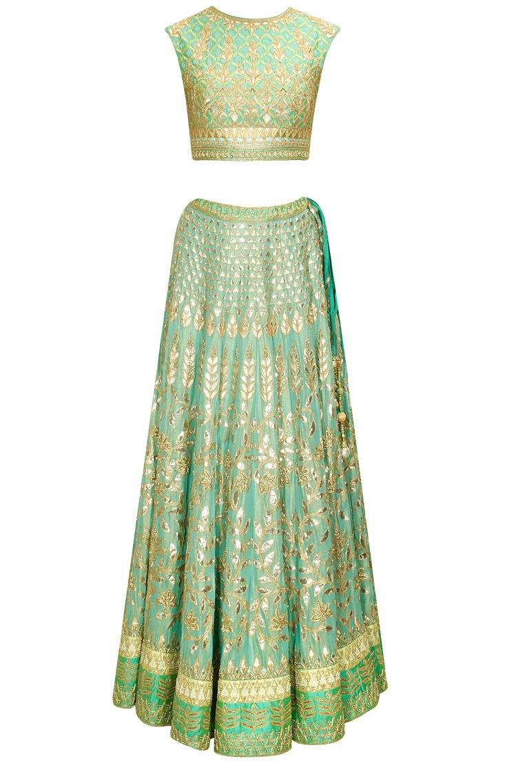 Aqua gota patti embroidered lehenga set by Anita Dongre.