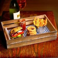 Wooden Food Presentation Crate 35 x 23 x 8cm | Fast Food Basket, Burger Basket