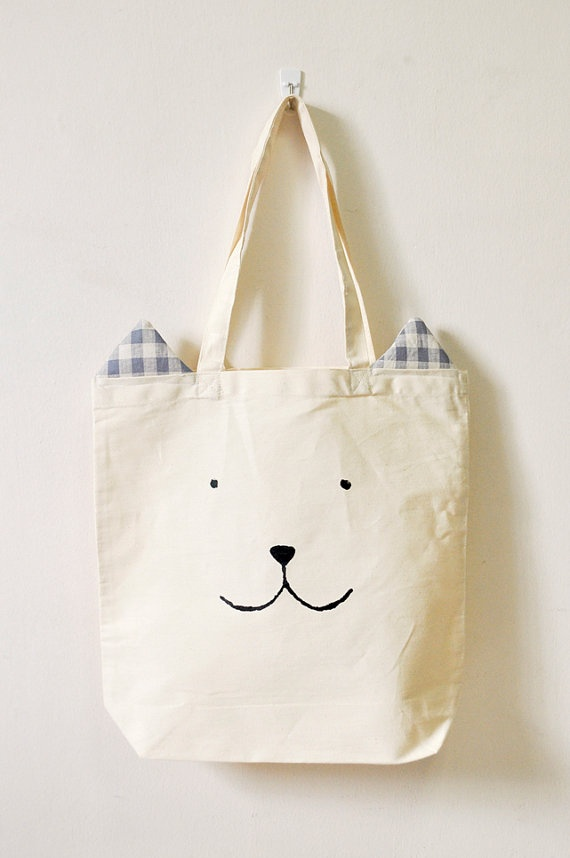 Billy Bear  school library or shopping tote bag by Gewwybeans, $30.00
