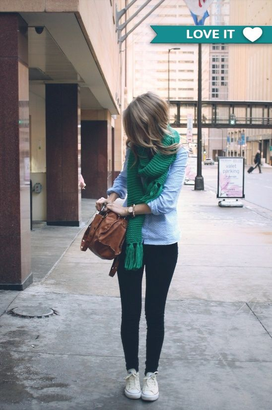 Cute fall or spring outfit with a comfy green knit scarf. This looks like Philly