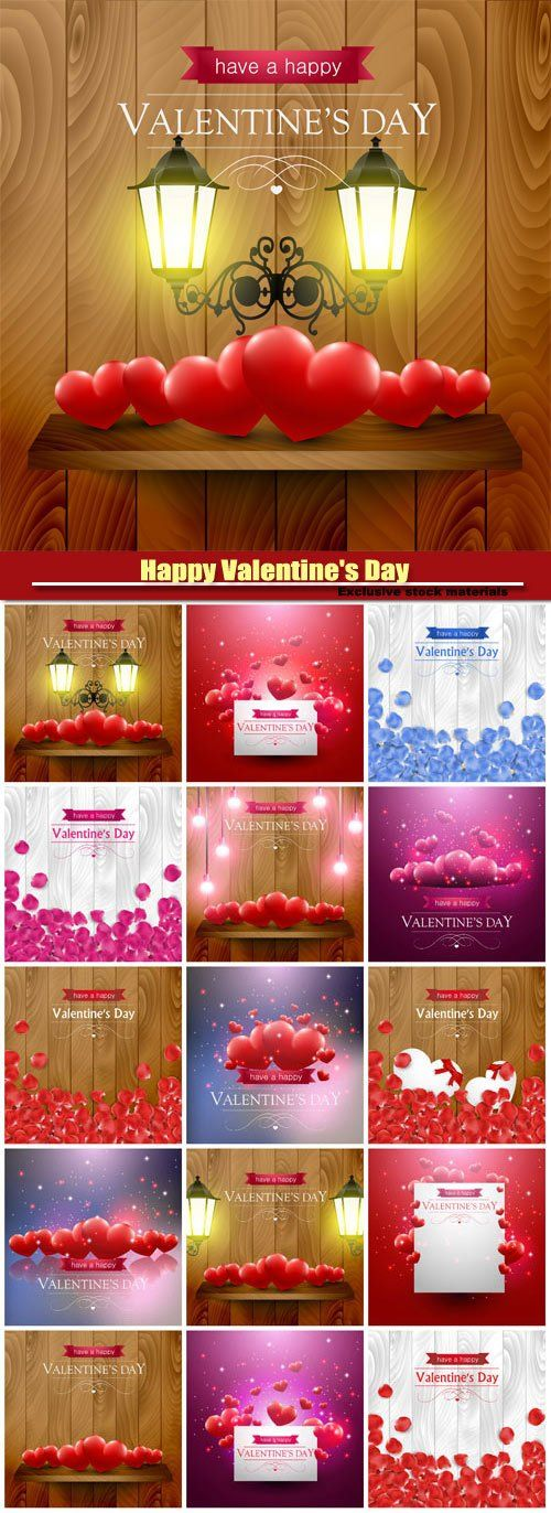 Happy Valentines Day vector beautiful backgrounds with hearts and rose petals