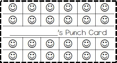 Classroom behavior ticket template also made elephant for Free punch card template
