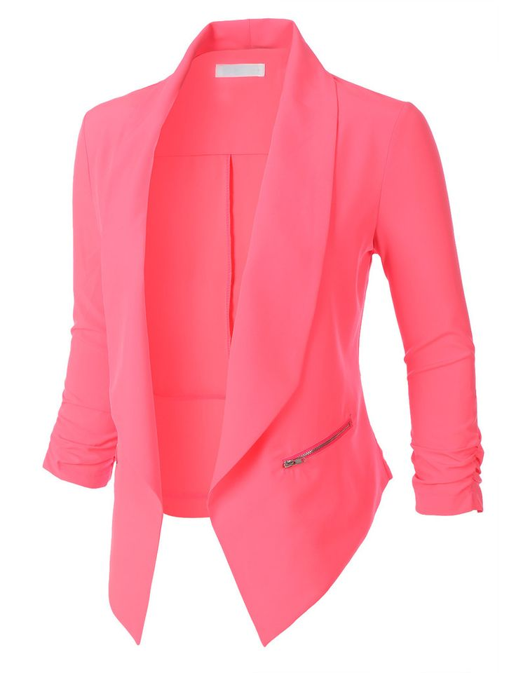 Womens Open Front Ruched 3/4 Sleeve Blazer Jacket