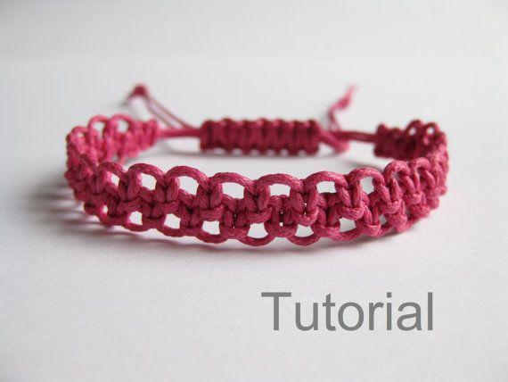 Étape de tutoriel rose Fermoir réglable noué des pdf macramé de la bracelet…