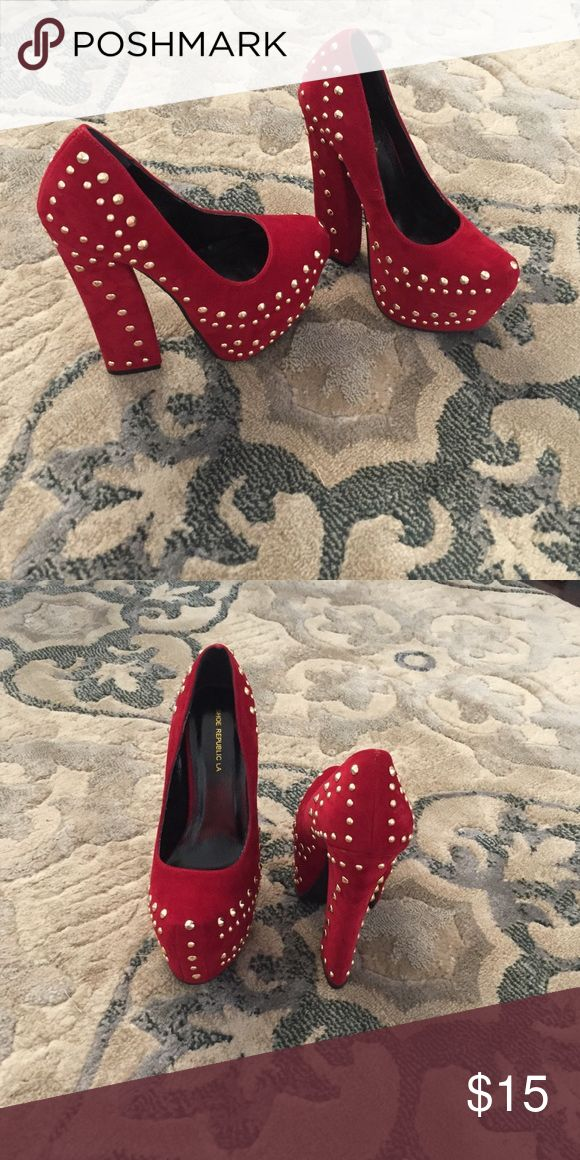 Show Republic LA Heels Red suede heels with gold studs. Size 7 1/2. Worn only once inside. Shoe Republic LA Shoes Heels