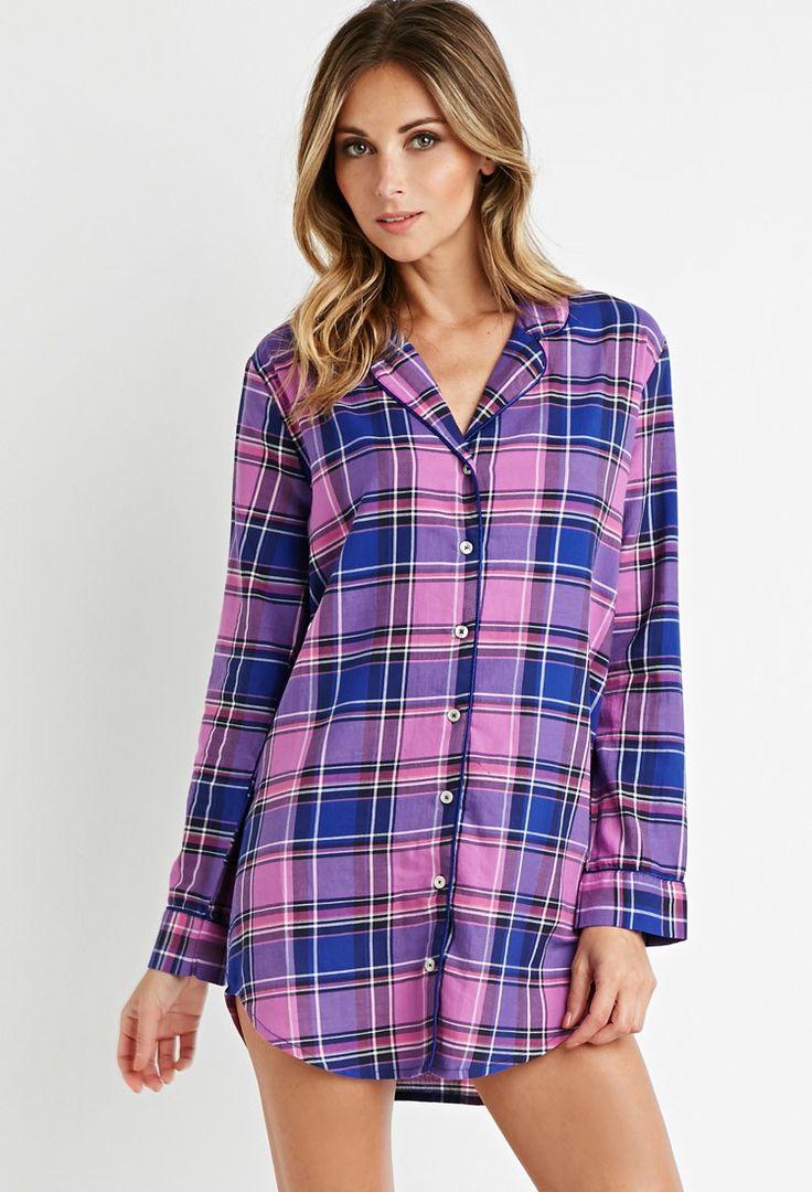 Tartan Plaid Button-Down Nightdress | Forever 21 - 2000173225