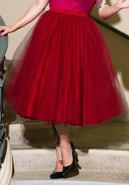ac62c3f49 Red Grenadine Pleated Fluffy Puffy Tulle Sweet Cute Homecoming Party Midi  Skirt