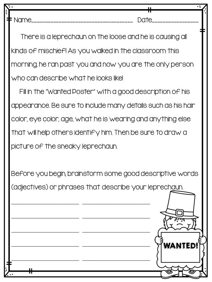 the best descriptive writing activities ideas classroom bies too leprechaun descriptive writing activity