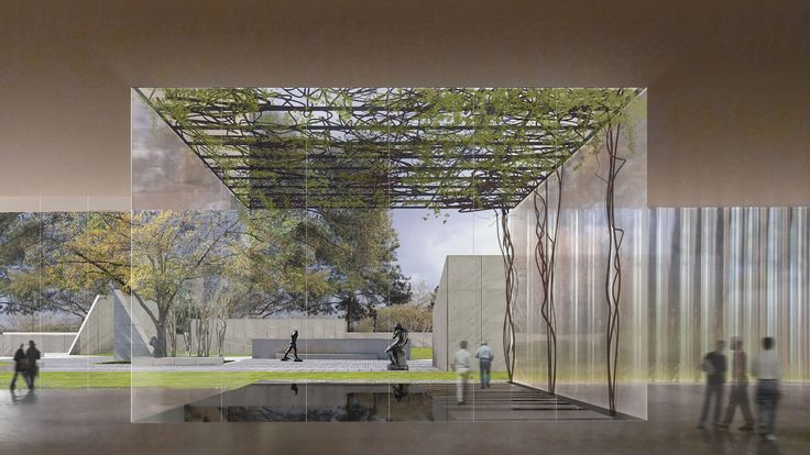 Construction has begun on a wedge-shaped building for the Museum of Fine Arts, Houston by Steven Holl, which will provide a new entry point to the campus.