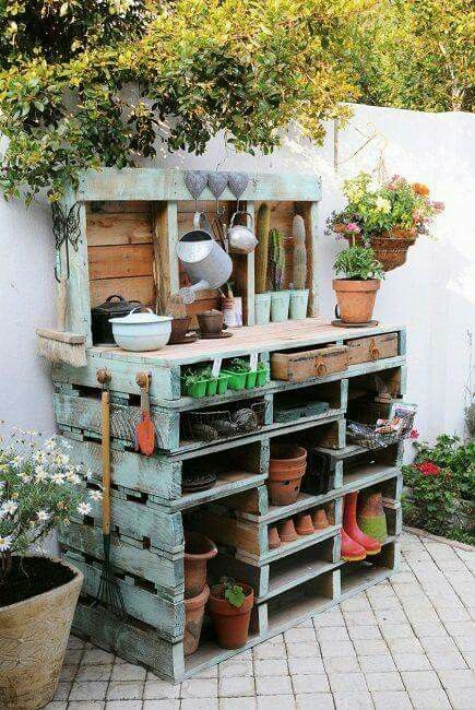 Potting bench made from pallets.