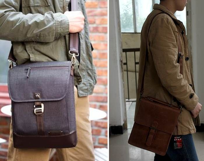 Vertical messenger bags are great for slim men who want to carry a laptop.
