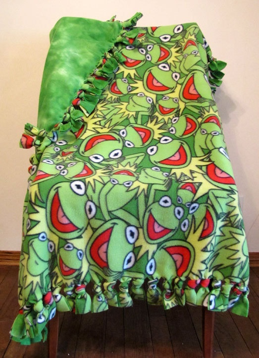 Knotted Fleece Kermit The Frog Baby Blanket by yourlittlepeanut