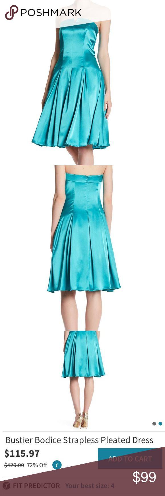 Allen Schwartz teal strapless pleated dress New without tags 😊💗 ABS Allen Schwartz Dresses Midi