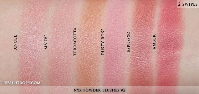 NYX Powder blush swatches in (L-R) Angel, Mauve, Terracotta, Dusty ...