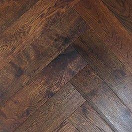 Mahogany Coloured Oil Lightly Brushed Oak Herringbone Parquet | TW E932