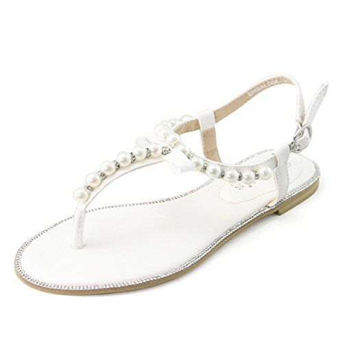 SHOEZY Womens Pu Leather Flat Sandals Wedding Pearls Rhinestone Thong Shoes White US 9.5